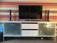 Tv unit, white with glass doors