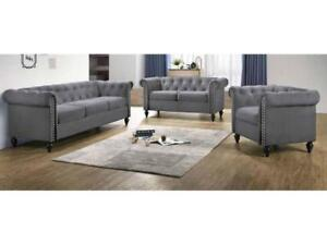 Grey Tufted 3 PC Sofa Set (KA202)
