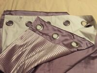 Next stunning silk, thick velvety band mauve colour curtains heavy fully lined 66 X 90 hardly used
