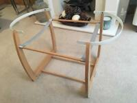 Mamas and Papas beech wooden rocking Moses basket stand