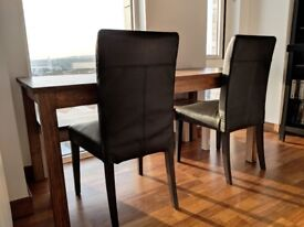 Set of 2 black faux leather dining chairs