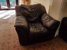 Comfortable 3 seater leather sofa and 2 armchairs navy blue