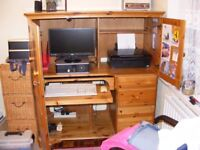 Ducal Pine Home Office Desk Computer Station.