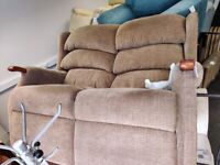 Small 2 seat brown fabric sofa settee wood frame