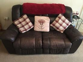 Leather Electric Reclining Sofa and 2 Arm Chairs