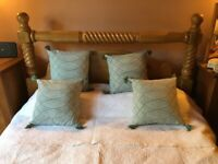 "(SOLD) Solid Oak King Size Bed with Orthopaedic Mattress 88"" long x 66"" wide x 53"" high"