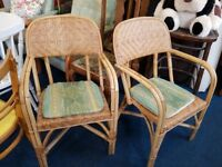 Pair of Bamboo and Wicker Armchairs