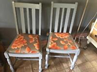 Pair chalk painted chairs