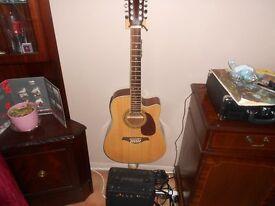 Vintage VEC 500 12 String Electro Acoustic Guitar & Amplifier
