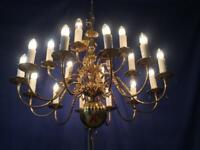 Beautiful lacquered brass 18 arm Flemish chandelier! Immaculate!