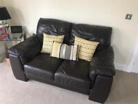 Brown Leather Sofas 3 & 2 Seaters