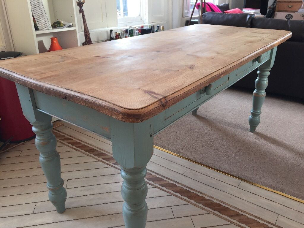 Vintage Rustic Farmhouse Pine Oak Effect Dining Table With Duck Egg Blue Legs