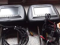 pair in car headrests dvd players,all cables,remote controls,ear phones.