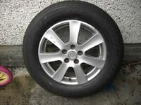 FULL SIZE KIA ALLOY and BRIDGESTONE TYRE, 235 65 R17, BOTH USED, CAME FROM a KIA SORENTO 7 SEATER