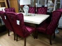 Beautiful Cream Marble Dining Table & 6 Wine Crushed Velvet, Winged Knocker Back Chairs