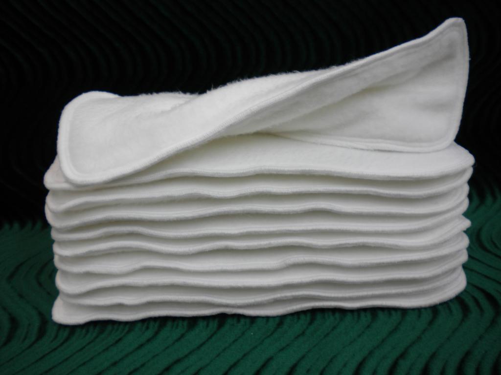 Super Soakers Cloth Diaper Insert Doubler 13x5 Bamboo Cotton Fleece Six Layer