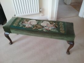Stool with embroidered seat