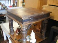SMALL VINTAGE INDIAN SHEESHAM WOOD COFFEE TABLE