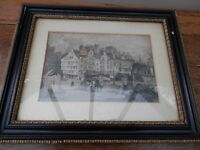 Framed antiwue print of Edinburgh