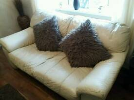 Real leather cream sofa and two chairs