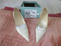 "Ladies Ravel shoes size 4/37, 2"" heel, off-white leather"