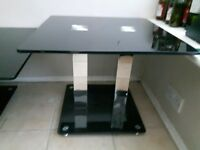 black glass coffee table and side table good condition