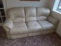 Cream 3 Piece Leather Suite Including Recliner chair