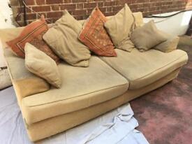 Large 3 Seater Cream Material Sofa