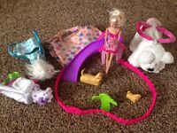 Barbie and puppy toy bundle £6