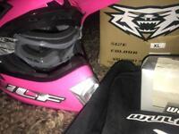 Wulf kids motorbike helmet & googles