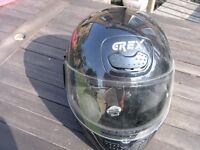Motor Cycle Helmet Small Black GREX Italian Full Face Size G10