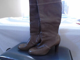 Long Clarks leather boots size 6.5