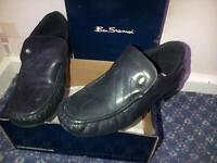 Boys/Mens Black Leather Ben Sherman Shoes - Size 5 - £12