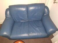 Comfortable 2 seater blue leather sofa