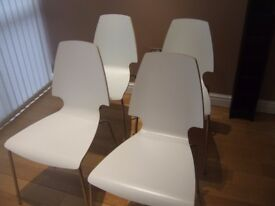 4 White IKEA Vilmar Chairs with Chrome Legs
