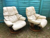 2x ekornes stressless armchairs armrests worn)