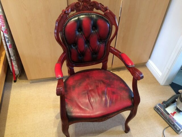 Pleasing Burgundy Leather Desk Chair In Pontefract West Yorkshire Gumtree Machost Co Dining Chair Design Ideas Machostcouk