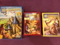 Carcassonne board game + expansions (River/Abbot/Traders and Builders/Princess and Dragon)