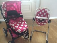 Childs buggy, high chair and car seat