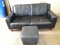 FOR SALE: Black part leather 2 seater sofa with pouffe