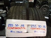 MATCHING PAIR 235 50 18 CONTISPORTS 5s 7-8MM TREAD £80 PAIR SUP & FITD (loads more av} TXT S