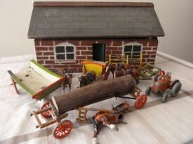 Vintage Lead Farm Horses/Equipment with handmade Stable