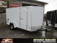 """2016 Stealth Trailers  6x12+24"""" v nose / White / double rear doo"""