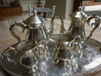 Vintage silver-plated tea and coffee set with oval tray