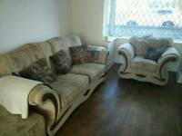 3 piece suite sofa and 2 armchairs, good condition, clean with pouffe