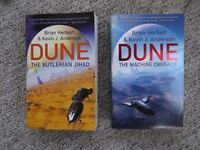 Two Dune paperbacks - Butlerian Jihad & Machine Crusade by Brian Herbert & Kevin Anderson.