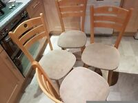 4 kitchen chairs - cloth seats dirty & need replaced