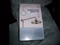 SHOWER HEAD AND FITTINGS- CROYDEX TRADITIONAL RAIN SHOWER SET- BRAND NEW STILL IN BOX