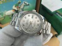 New Swiss Men's Rolex Oyster Datejust Perpetual Automatic Watch, Silver Dial