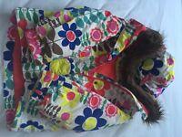 Boden Child 7-8 Ski Jacket Flower Pattern